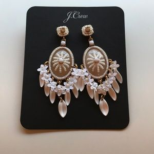 J Crew new Beaded Cameo Floral Earrings